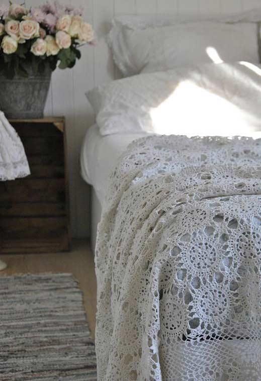 Padrão de renda para colocar na cama