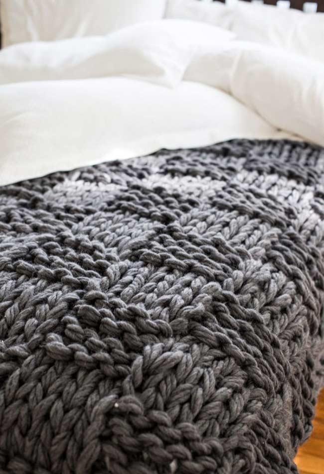 Barbante grosso para mais textura na sua manta
