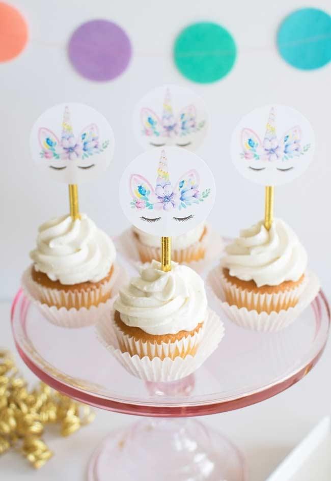 Lindos cupcakes para festa unicórnio