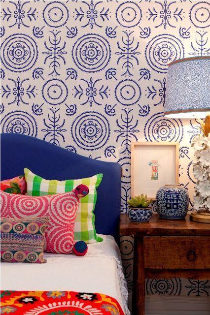 Estampas azul no tecido para parede