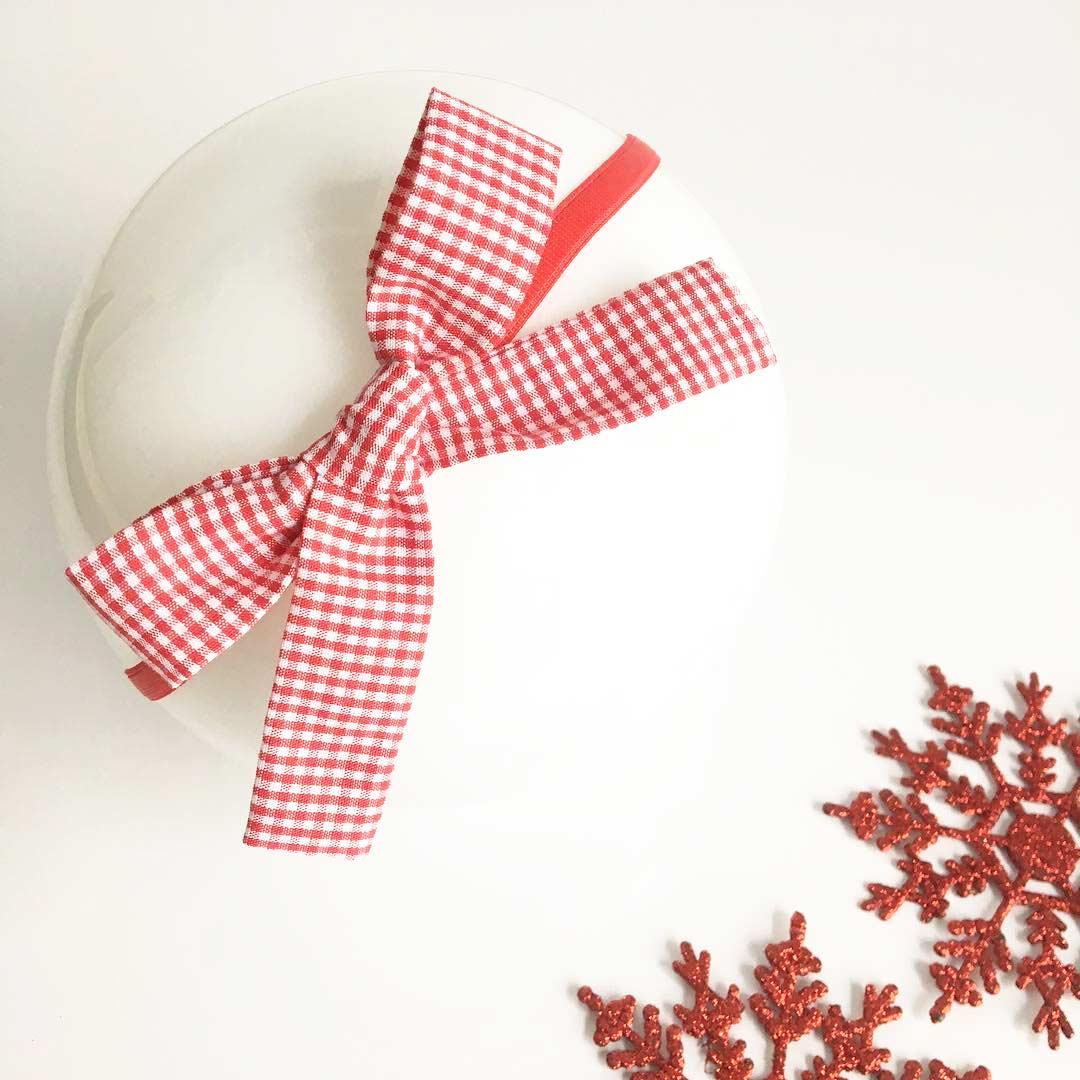 Laço de tecido quadriculado / natalino
