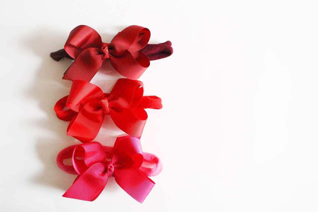 Laços com 3 tonalidades do vermelho