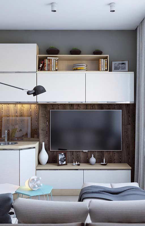 Apartamento pequeno com único painel