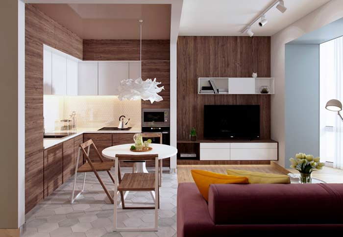 Sala integrada com harmonia entre os materiais