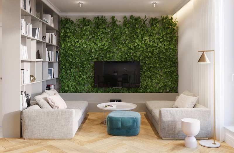 Jardim vertical artificial no painel