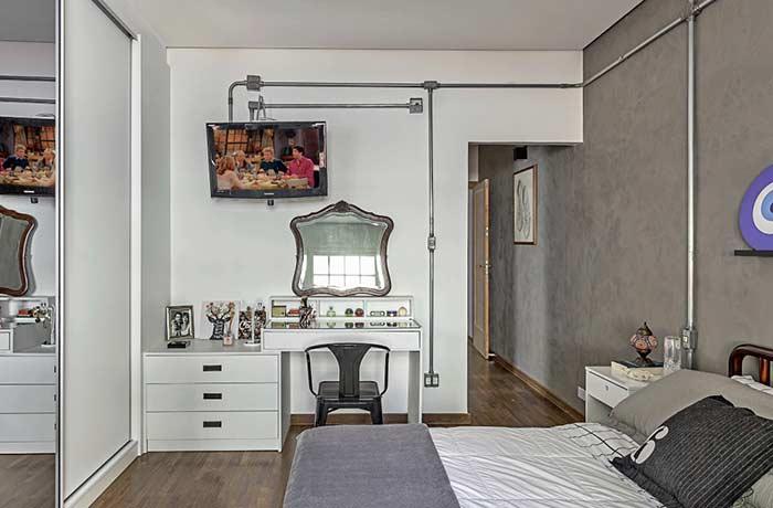 Mude o visual do quarto com cimento queimado