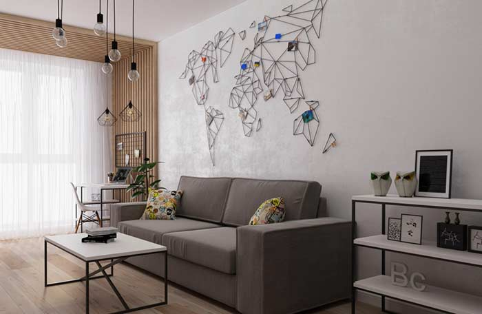 Papel de parede que imita cimento queimado