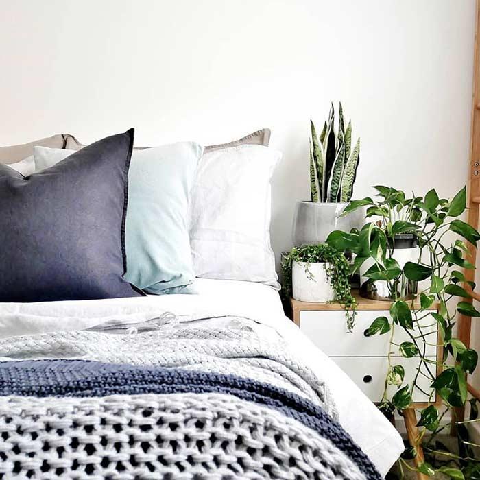 Verde da natureza dentro da decoração de um quarto simples