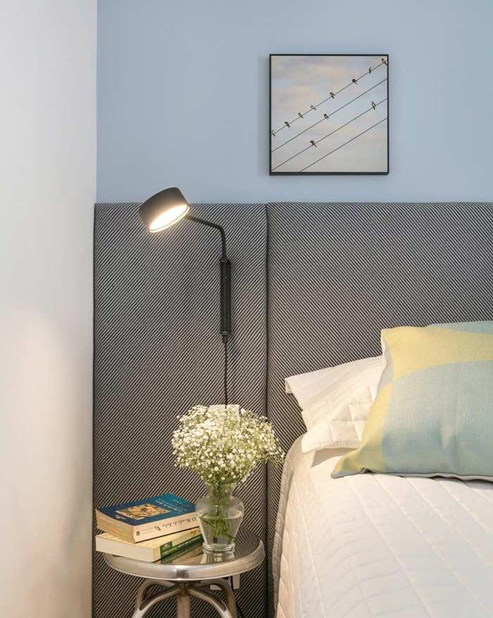 Azul bebê e cinza na decoração do quarto