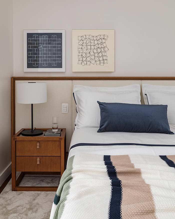 Cores em harmonia na decoração de um quarto simples