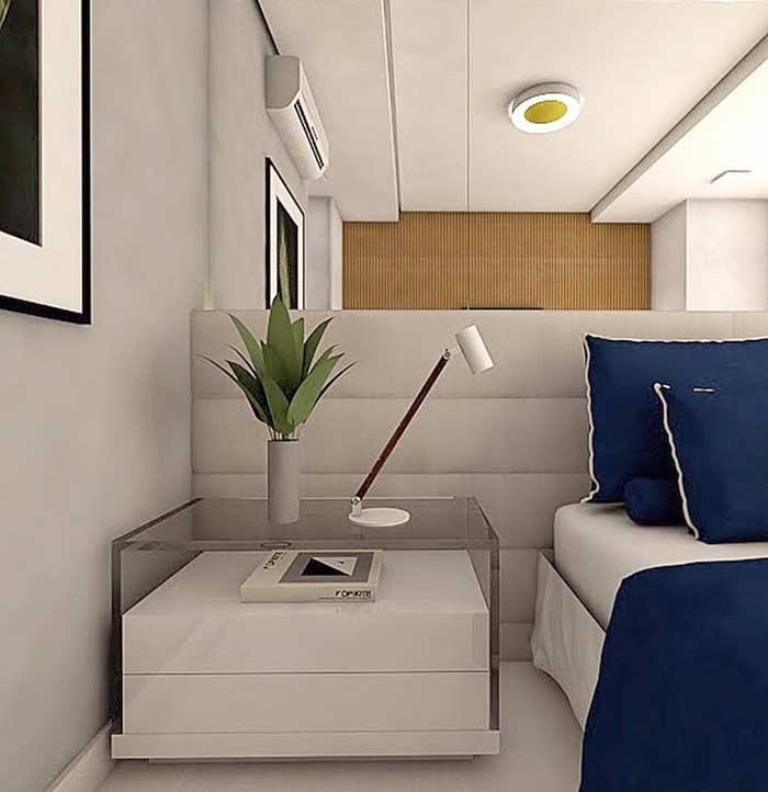 Cinza e azul marinho na decoração do quarto