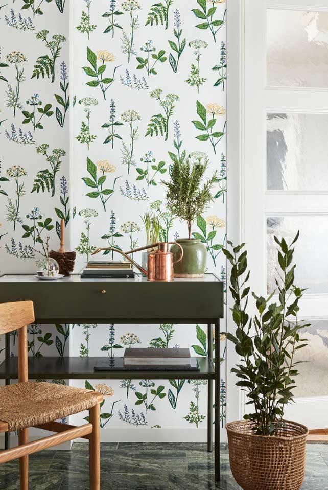 Papel de parede com estampas de plantas