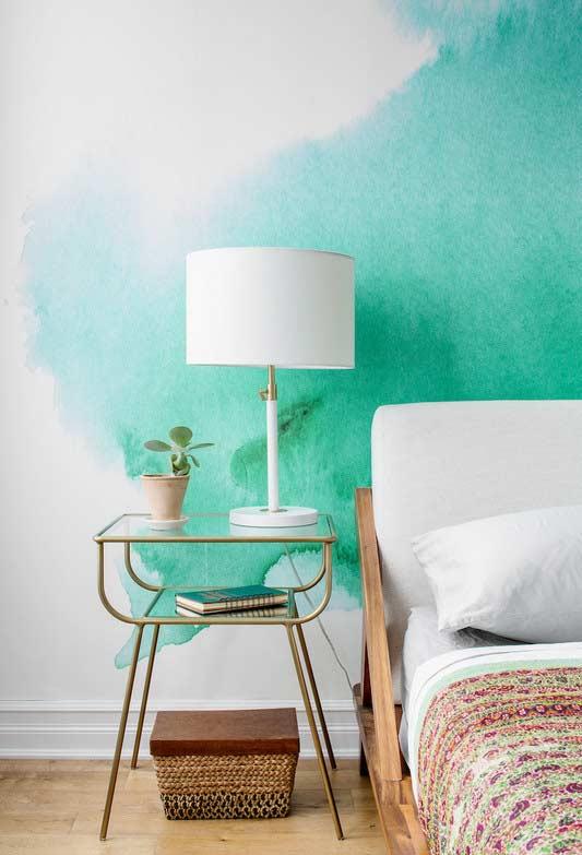 Efeito aquarela na pintura da parede com verde-água!