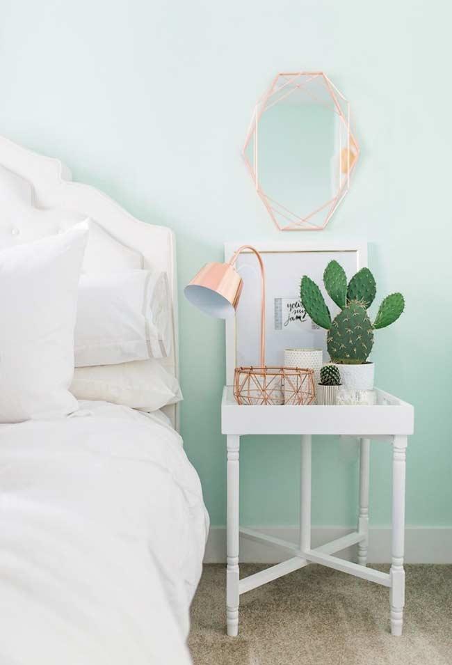 Verde e rose gold na decoração do quarto