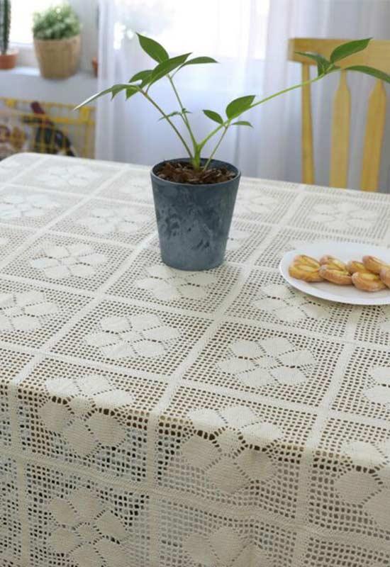 Crochê square com flores