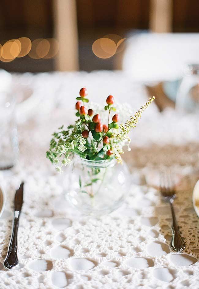 Toalha de crochê para mesa de casamento
