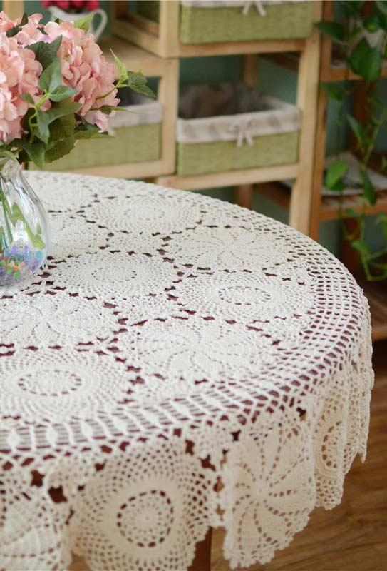 Círculos por toda a extensão da toalha de crochê