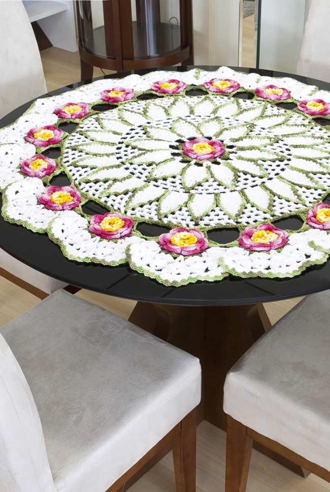 Toalha de crochê grande para mesa redonda