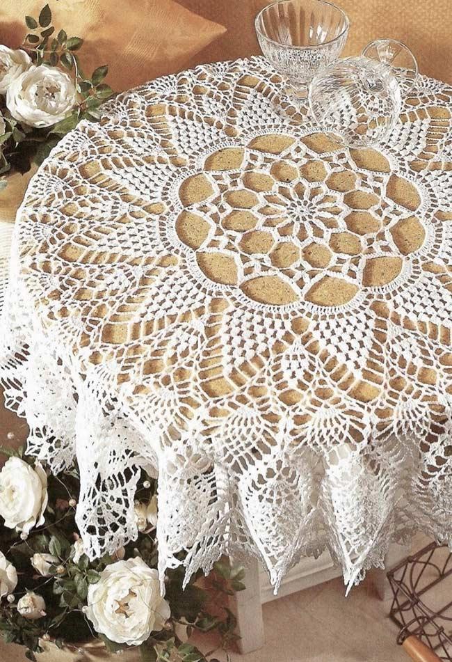 Trabalho de toalha de crochê nos mínimos detalhes