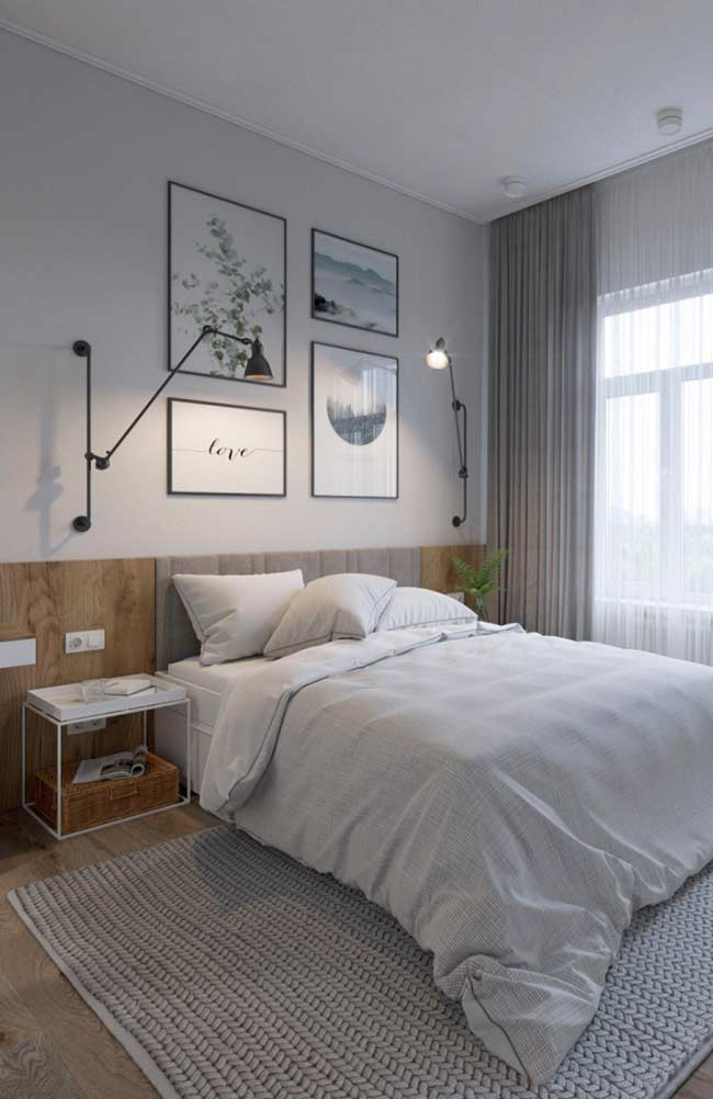 Área da cama com acabamento diferenciado