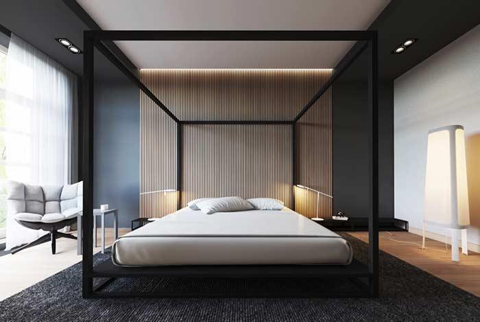 Linhas retas e minimalistas para um quarto contemporâneo