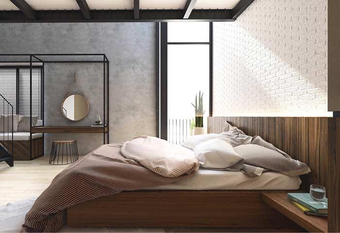 Proposta horizontal para trabalhar a parede com outro material