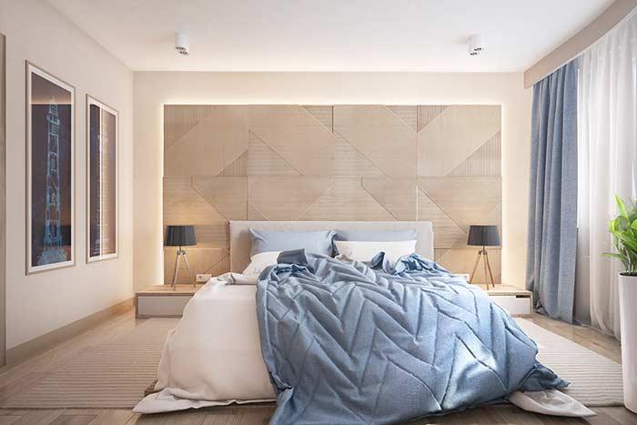 Trabalhe a paginação da madeira na cabeceira de cama