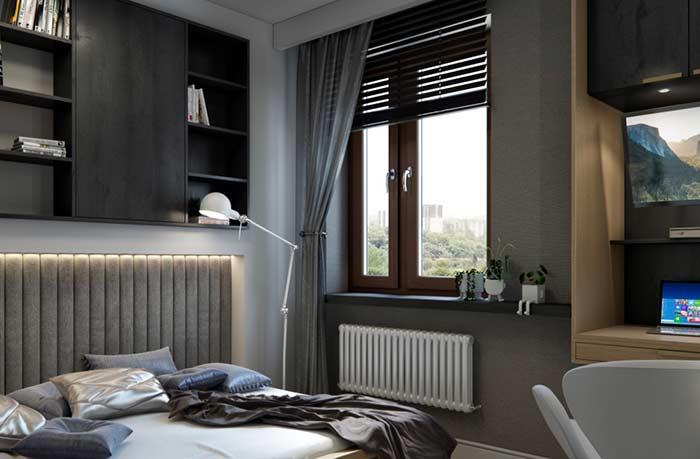 Persiana com cortina de cetim