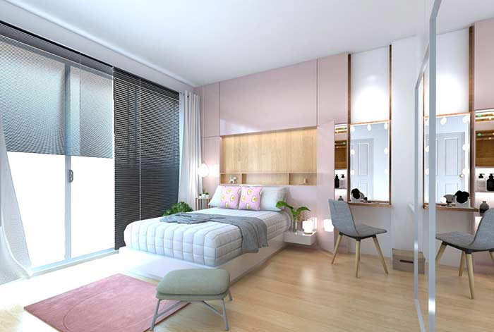 Quarto com persiana e cortina de seda
