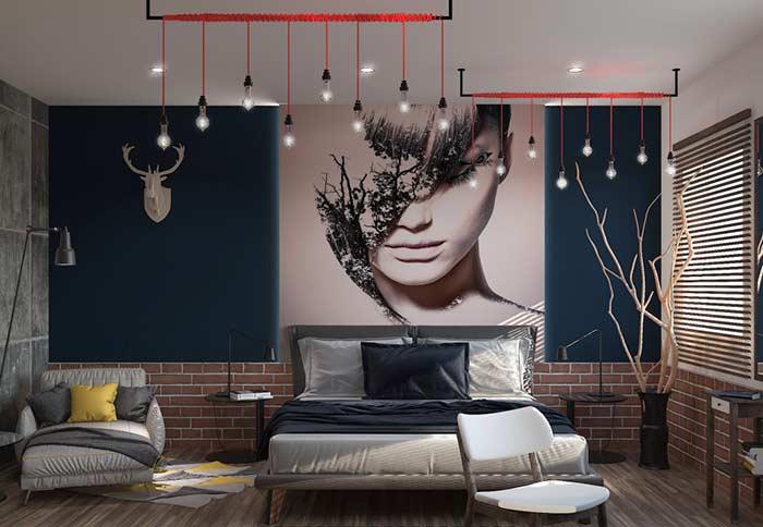 Modelo clássico de cortina na cor cinza