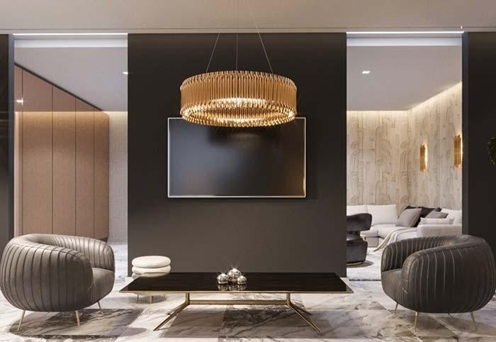 Anel de lustre é ideal para uma sala contemporânea