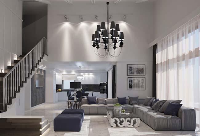 Lustre para sala preto na decoração de ambiente branco e cinza