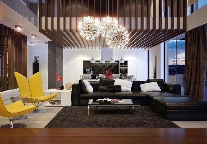 Sala ampla com composição de lustres