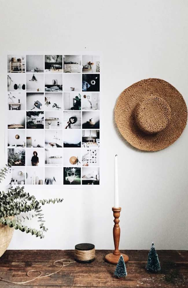 Mural com fotos organizadas e coladas