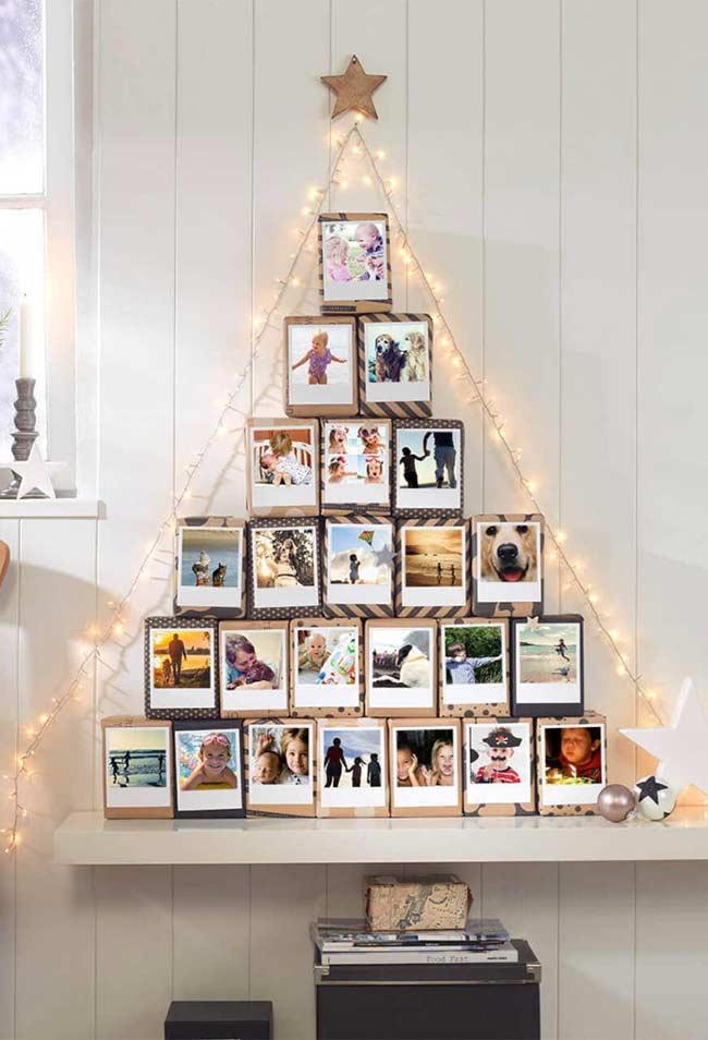 árvore alternativa só com fotos e momentos incríveis do ano
