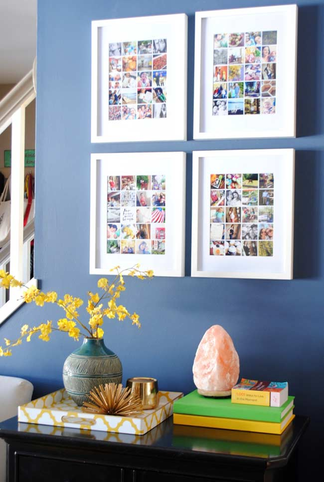 Conjunto de quadros emoldurados com diversas fotografias