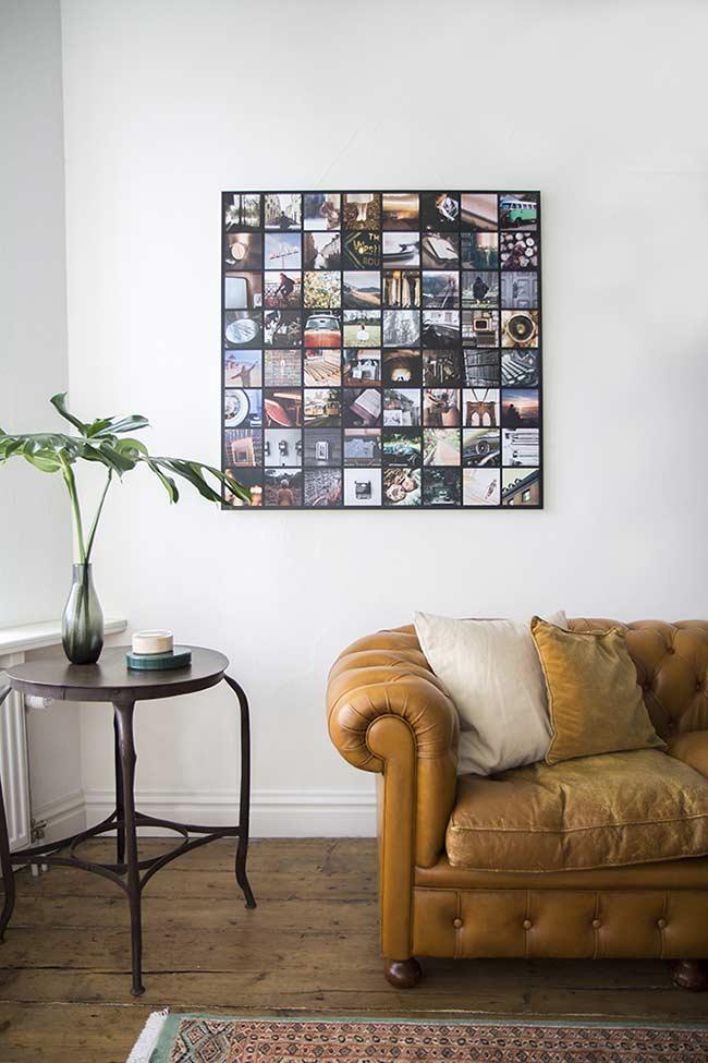 Um quadro repleto de fotos em quadradinhos num conjunto de momentos diferentes