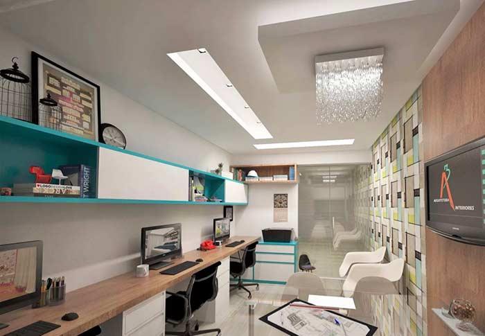 Destaque para a área nobre do escritório com teto de gesso