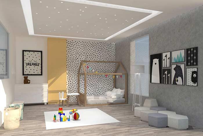 Teto de gesso com pontos de luz para quarto de bebê