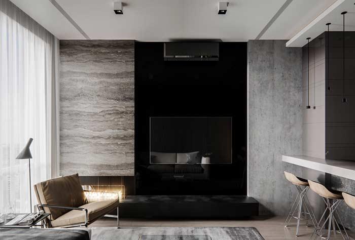 Sala de estar moderna com sanca de gesso