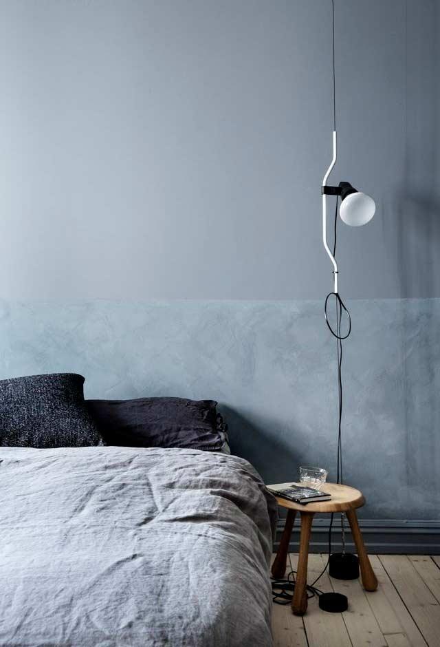 Quarto azul minimalista