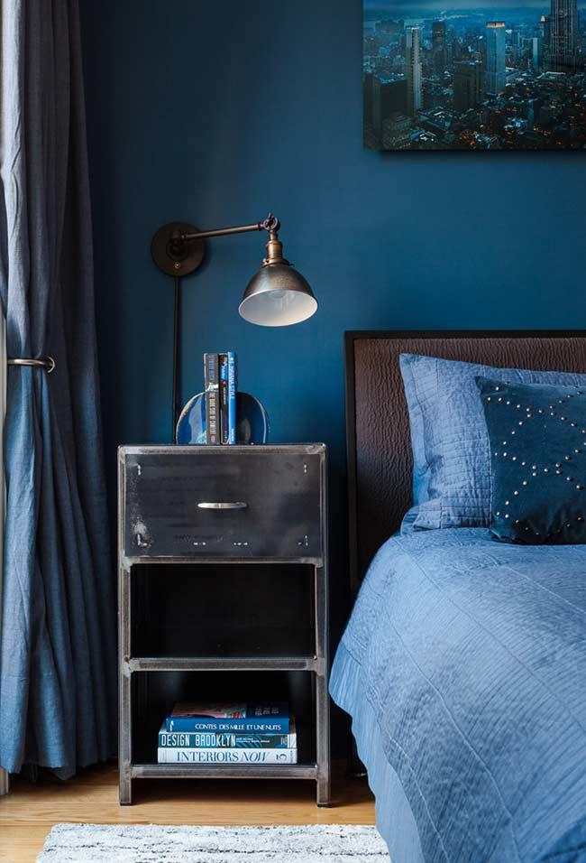 Azul e cobre na decoração do quarto