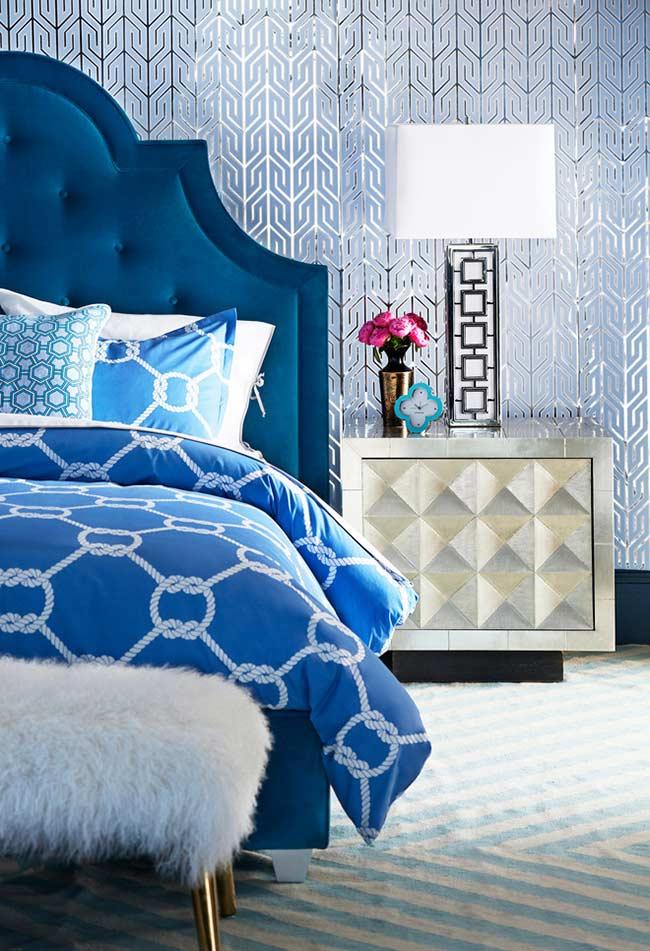 Cabeceira grande com azul Royal