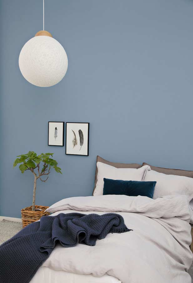 Quarto azul decorado