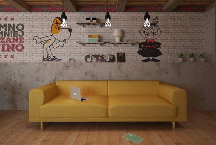 Decoração da parede em sala de jogos