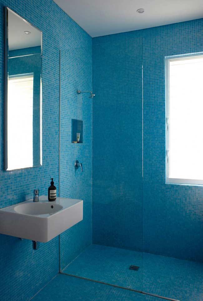 Pastilhas azuis no banheiro