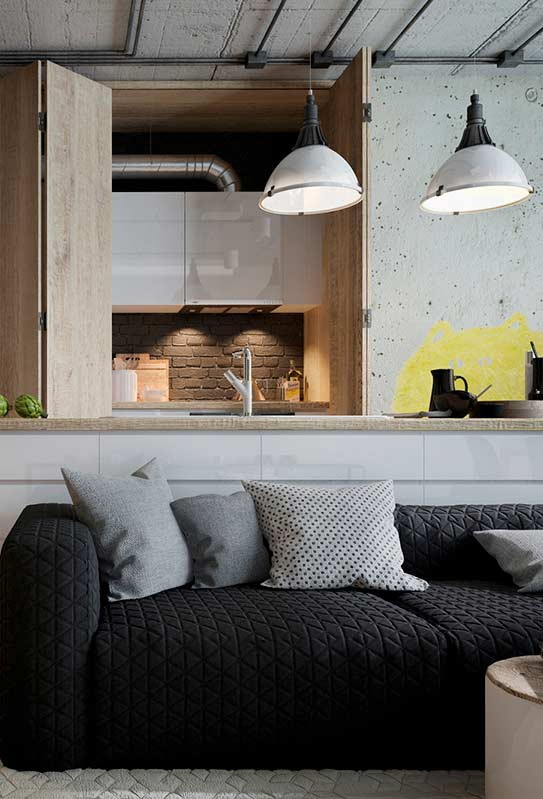 Sofá preto com textura geométrica