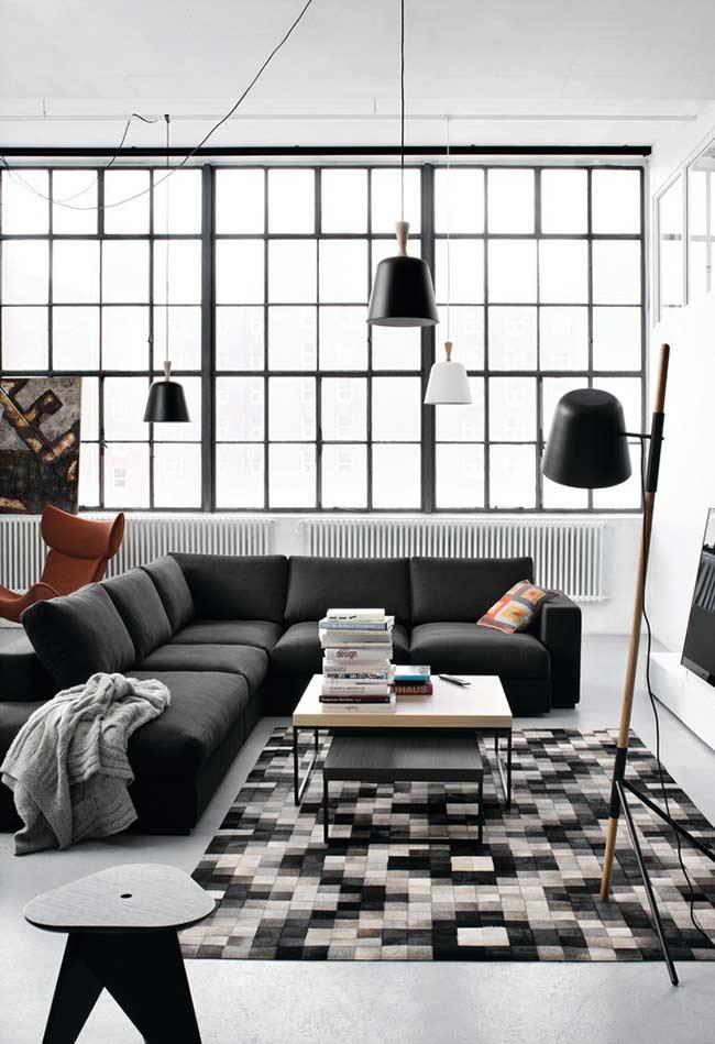 Sofá de canto retrátil em decoração preto e branca