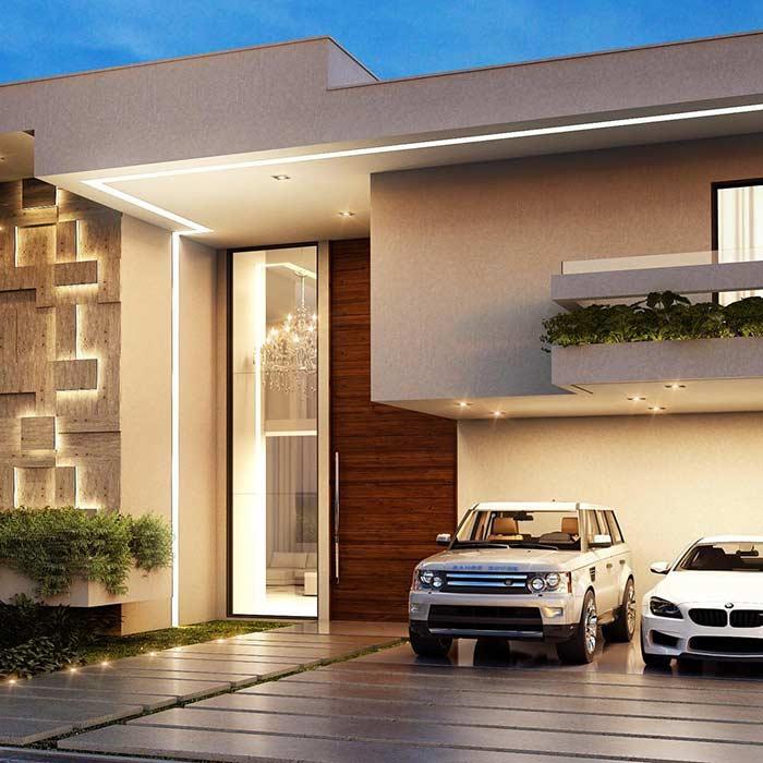 Iluminação externa na casa linda