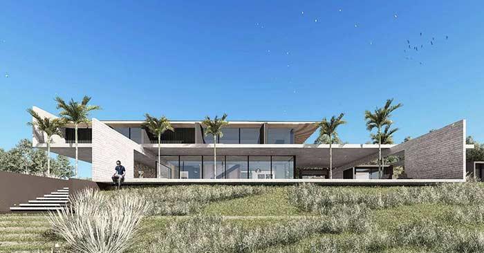 Projeto de casa grande com arquitetura moderna.
